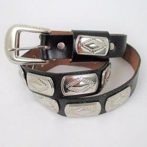 Vintage Belt Southwestern Aztec Leather Concho